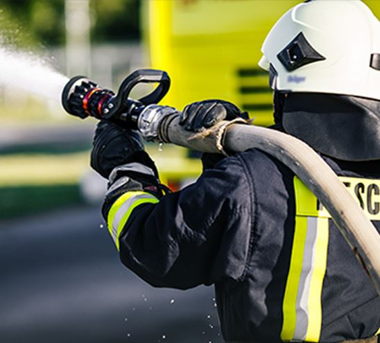 fireman drills water spill combustion zone