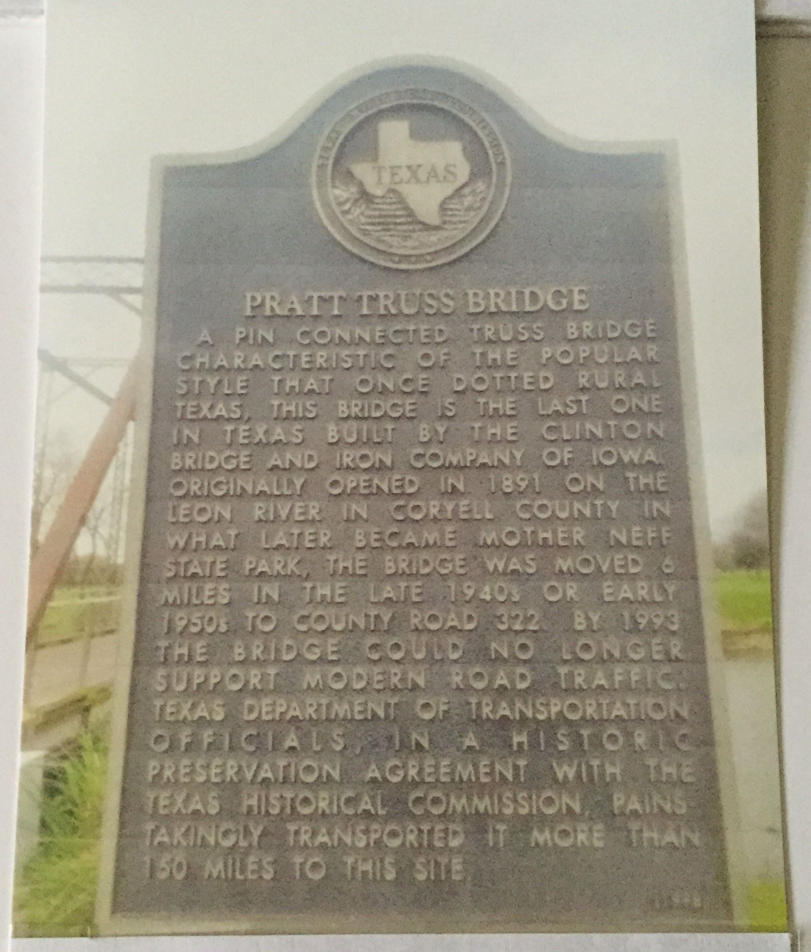 Pratt Truss Bridge Marker